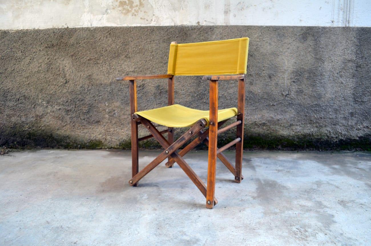 Sedia Da Regista In Legno.Sedia Da Regista In Velluto E Legno The House Of Vintage