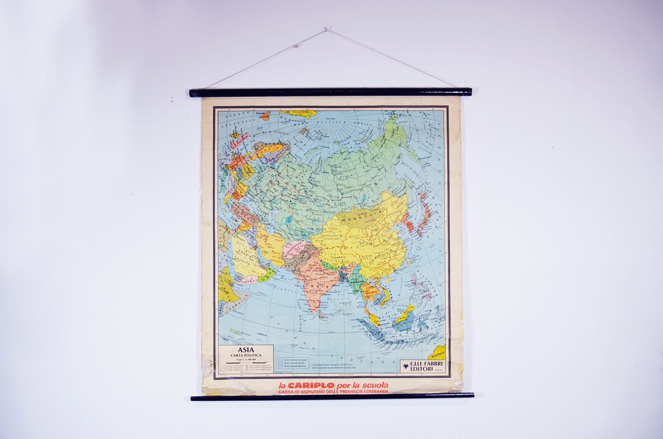 Cartina Politica Asia.Cartina Geografica Asia Vintage Fabbri Editore The House Of Vintage